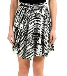 Versus Versace BlackWhite Silk Asymmetrical Skirt