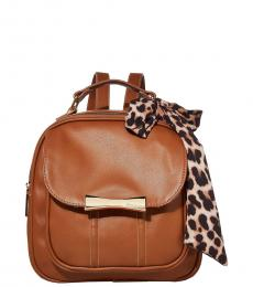 Brown Scarf Mini Backpack
