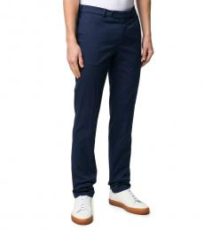 Navy Blue Cotton Blend Tailored Trousers