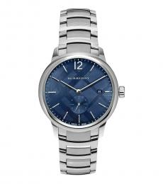 Burberry Silver Blue Dial Watch