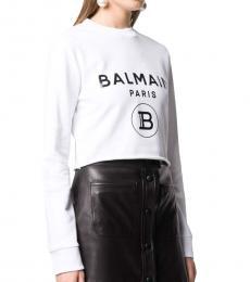 Balmain White Logo Crop Sweatshirt