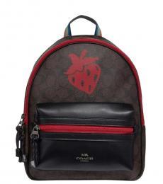 Coach Brown Black Charlie Strawberry Medium Backpack