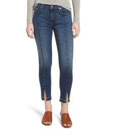 Denim Front Slit Skinny Jeans