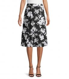 BlackWhite Ruffled Floral Skirt