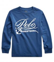 Ralph Lauren Little Boys Federal Blue Graphic T-Shirt