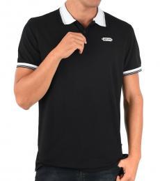 Black Stretch Cotton Polo