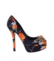 Black Orange Floral Pumps