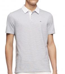 White Striped Cotton Polo