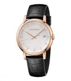 Black Minimal Silver Dial Watch
