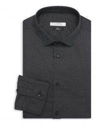 Versace Collection Navy Blue Diamond Print Dress Shirt