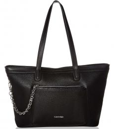 Black Beverly Novelty Chain Large Tote