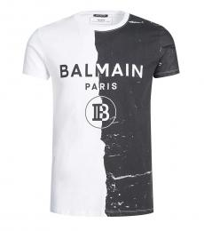 Balmain Black White Logo Print T-Shirt