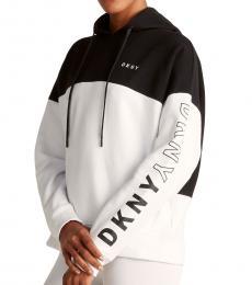 DKNY Black Flip Logo Pullover Hoodie