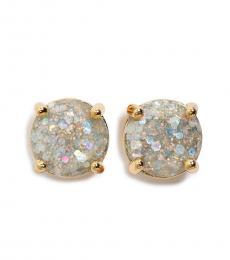Kate Spade White-Gold Glitter Round Stud Earrings