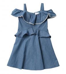 BCBGirls Girls Indigo Striped Ruffle Dress