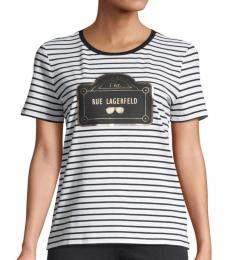 Karl Lagerfeld White Black Striped Stretch-Cotton Tee