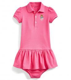 Ralph Lauren Baby Girls Pink Madras Bear Dress