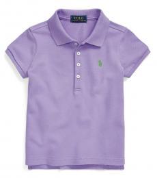 Ralph Lauren Little Girls Hampton Purple Mesh Polo