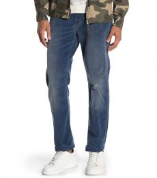 7 For All Mankind Blue Slimmy Corduroy Slim Straight Pants