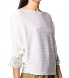 Chloe White Wool Embroided Sweater