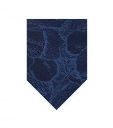 Blue Camouflage Botanical Print Skinny Tie