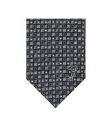 Versace Grey Printed Silk Tie