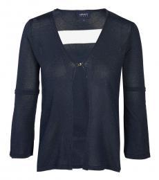 Armani Jeans Dark Blue V-Neck Cardigan