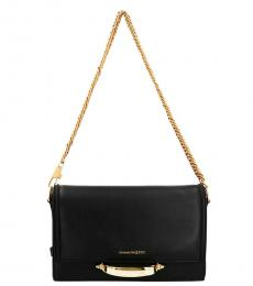 Alexander McQueen Black Story Chain Medium Shoulder Bag