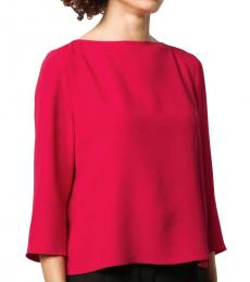 Emporio Armani Bright Red  Back Pleated Boxy Top
