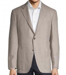 Canali Beige Regular-Fit Wool Blazer