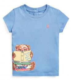 Ralph Lauren Baby Girls Blue Reading Bear Jersey T-Shirt