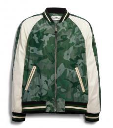 Coach Green Camo Lightweight Nylon Jacket