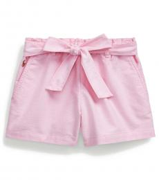 Little Girls Pink Belted Oxford Shorts