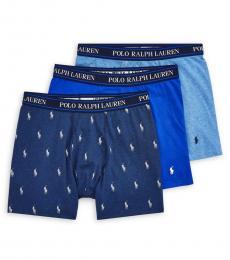 Ralph Lauren Blue Multi 3-Pack Classic-Fit Boxer Briefs