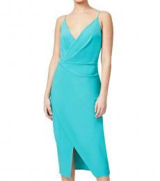 Betsey Johnson Peacock Faux Wrap Midi Dress