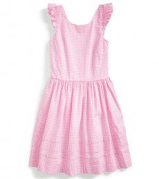 Ralph Lauren Girls Pink Multi Gingham Poplin Dress