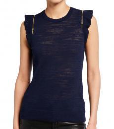 Michael Kors Navy Zip-Shoulder Slub Sweater Top