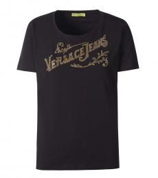 Versace Jeans Black Solid Logo Tee