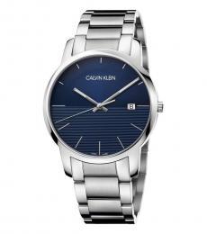 Calvin Klein Silver Blue Dial Logo Watch