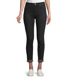 7 For All Mankind Black Fringed Ankle Skinny Jeans