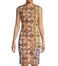 Roberto Cavalli Terracotta Medallion-Print Sheath Dress