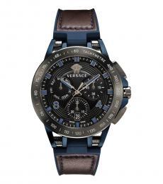 Versace Blue-Brown Sport Tech Chronograph Watch