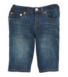 True Religion Boys Blue Grease Denim Slim Fit Shorts