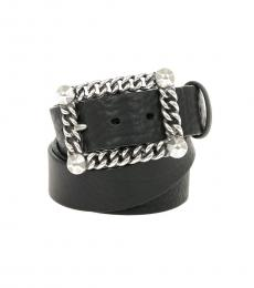 Just Cavalli Black Rectangle Buckle Belt