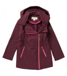 Michael Kors Girls Cherry Asymmetrical Hooded Soft Shell Jacket