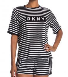 DKNY BlackWhite Logo Print 2-Piece Set