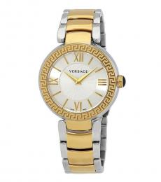 Versace Silver-Gold Logo Watch
