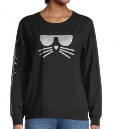 Karl Lagerfeld Black Silver Shimmer Choupette Graphic Sweatshirt