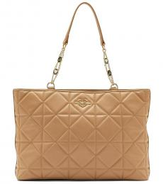 Love Moschino Beige Quilted Large Tote