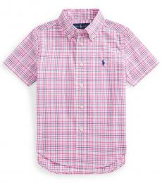 Ralph Lauren Little Boys Pink Multi Plaid Poplin Shirt